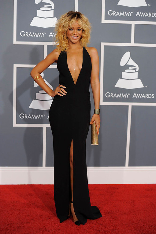 . Rihanna arrives at the 54th annual Grammy Awards on Sunday, Feb. 12, 2012 in Los Angeles. (AP Photo/Chris Pizzello)