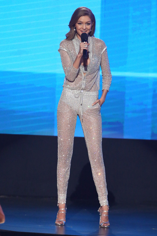 . Host Gigi Hadid speaks at the American Music Awards at the Microsoft Theater on Sunday, Nov. 20, 2016, in Los Angeles. (Photo by Matt Sayles/Invision/AP)