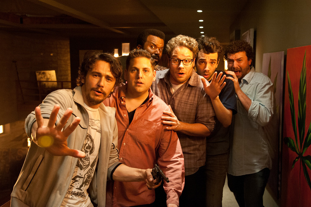 """. L-r, James Franco, Jonah Hill, Craig Robinson, Seth Rogen, Jay Baruchel and Danny McBride star in Columbia Pictures\' \""""This Is the End.\"""""""