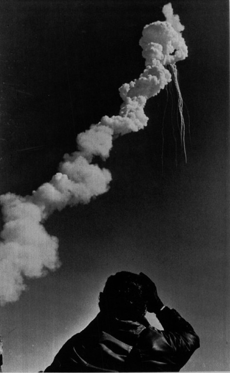 . A Lockheed employe at the Kennedy Space Center watches as the space shuttle Challenger explodes in the air. A crew of seven died in the tragedy including teacher astronaut Christa McAuliffe.  Denver Post Library Archive