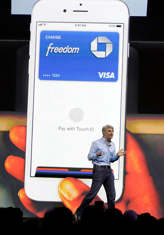 . Craig Federighi, Apple\'s senior vice president of software engineering, speaks during an announcement of new products at the Apple Worldwide Developers Conference in San Jose, Calif., Monday, June 5, 2017. (AP Photo/Marcio Jose Sanchez)