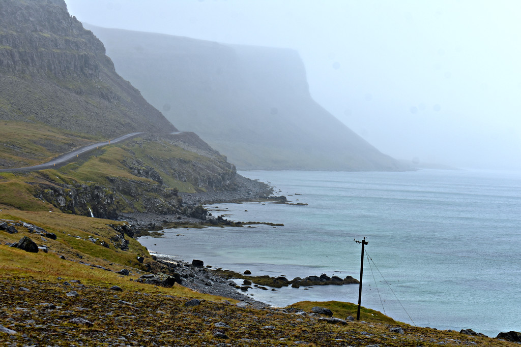 Road 612 to Hnjóti and Látrabjarg bird cliffs in West Fjords Iceland