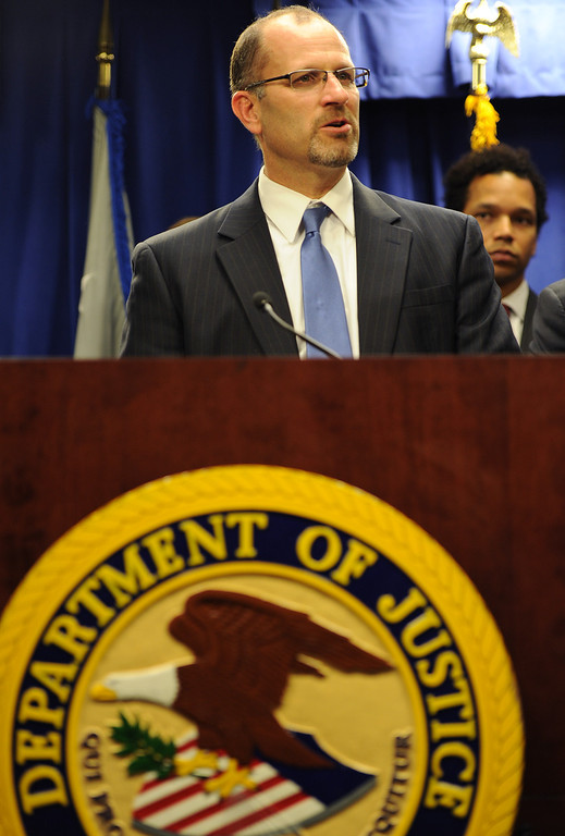 . Eric Weirich, deputy commissioner for the California Department of Insurance, speaks during a Los Angeles press conference on Friday, Feb. 21, 2014, to announce charges against State Sen. Ron Calderon and his brother Tom that include mail fraud, money laundering, tax evasion, and fraud related to health care. (Photo by John McCoy/Los Angeles Daily News)