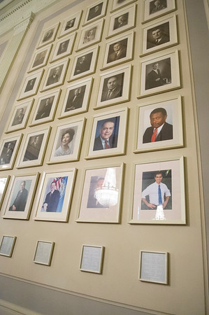 01/10/20 Wesley Bunnell | StaffrrHartford Mayor Luke Broin's portrait hangs in a conference room along with previous mayors in City Hall. Senator Richard Blumenthal along with Governor Ned Lamont, Hartford Mayor Luke Bronin, Lt. Gov. Susan Bysiewicz, other government officials and community activists mets at Hartford City Hall on Friday afternoon to discuss how to help Puerto Rico after a series of earthquakes recently. The Senator called for fair and affordable prices on airline tickets leaving Puerto Rico which have skyrocketed in price. Others noted the Trump administrations failure to release federal funding already designated for relief efforts two years ago after Hurricane Maria.