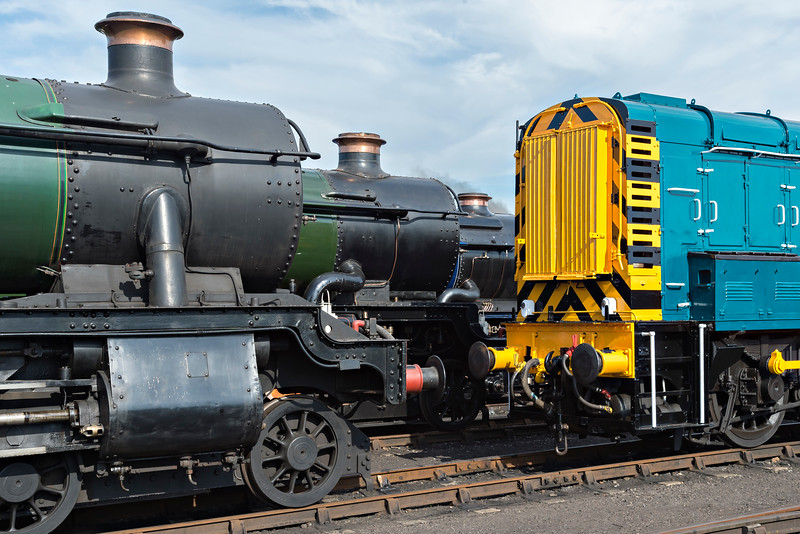 Shuffling the locos outside the shed