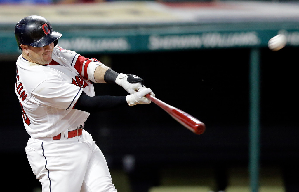 . Cleveland Indians\' Daniel Robertson hits a three-run home run off Los Angeles Dodgers relief pitcher Chris Hatcher during the ninth inning of a baseball game, Tuesday, June 13, 2017, in Cleveland. The Dodgers won 7-5. (AP Photo/Tony Dejak)