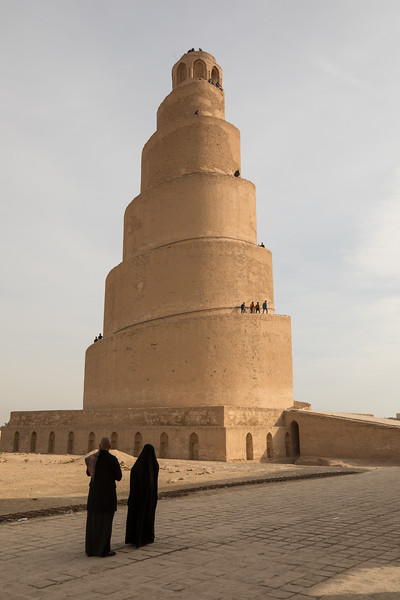 The Malwiya Minaret in the city of Samarra in in Saladin Governorate, 125 kilometers north of Baghdad. The minaret was built in 848–852 from sandstone and was originally connected to the adjacent Great Mosque of Samarra by a bridge. During the US occupation the minaret was also used by US soldiers as a lookout position.