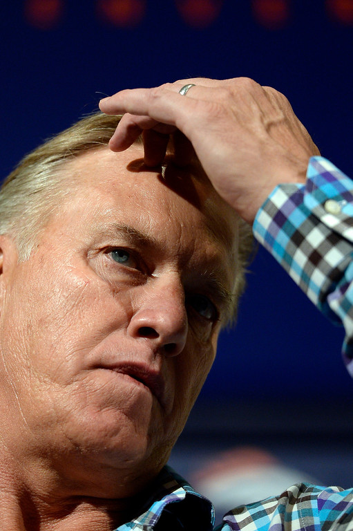 . Broncos General Manager and Executive Vice President of Football Operations John Elway discusses the draft on May 5, 2014 at Dove Valley. (Photo by John Leyba/The Denver Post)
