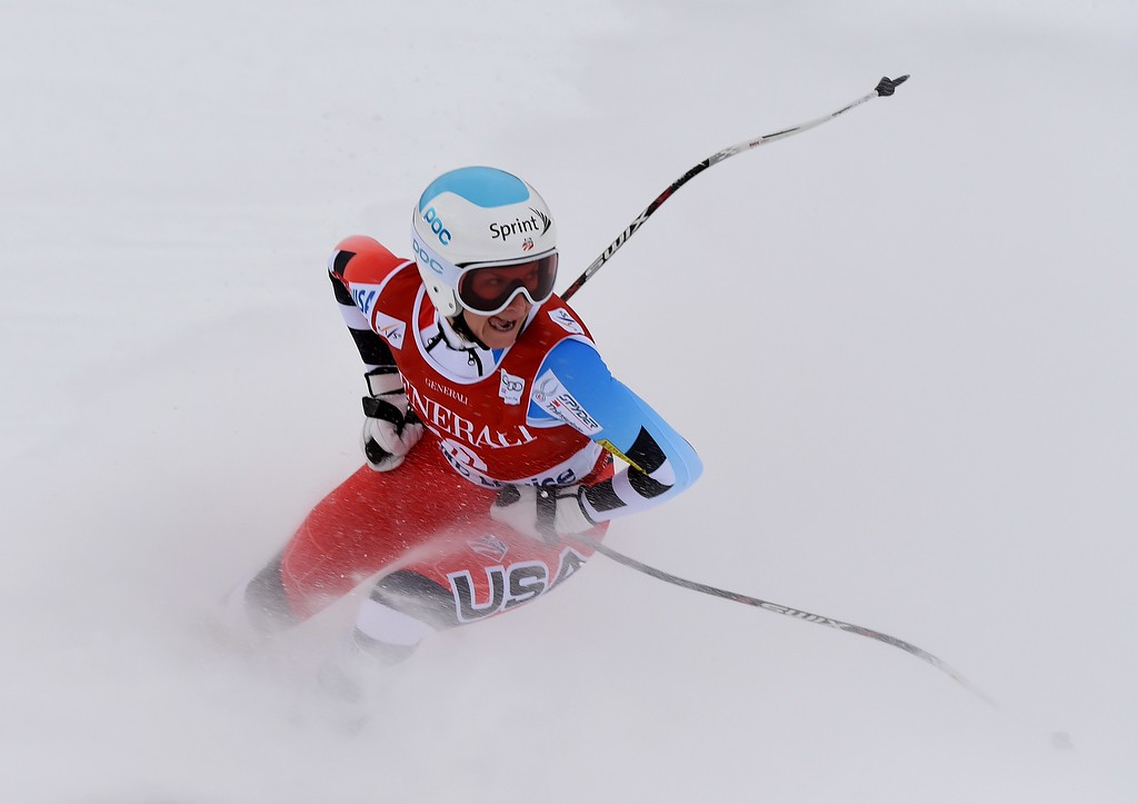 . Lindsey Vonn of the US checks her time after competing in the first women\'s downhill race during the Alpine Skiing FIS World Cup at Lake Louise, Canada, on December 5, 2014.  Vonn who has just returned from injury finished in 8th place.                     AFP PHOTO/Mark RALSTON/AFP/Getty Images