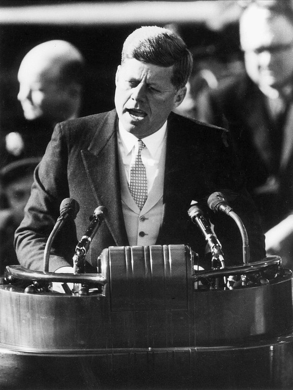 . President John F. Kennedy delivers his inaugural address after taking the oath of office at the Capitol in Washington Jan. 20, 1961.  (AP Photo)