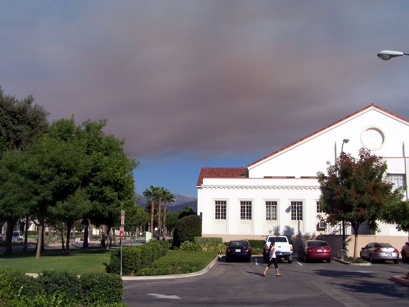 Smoke over campus.