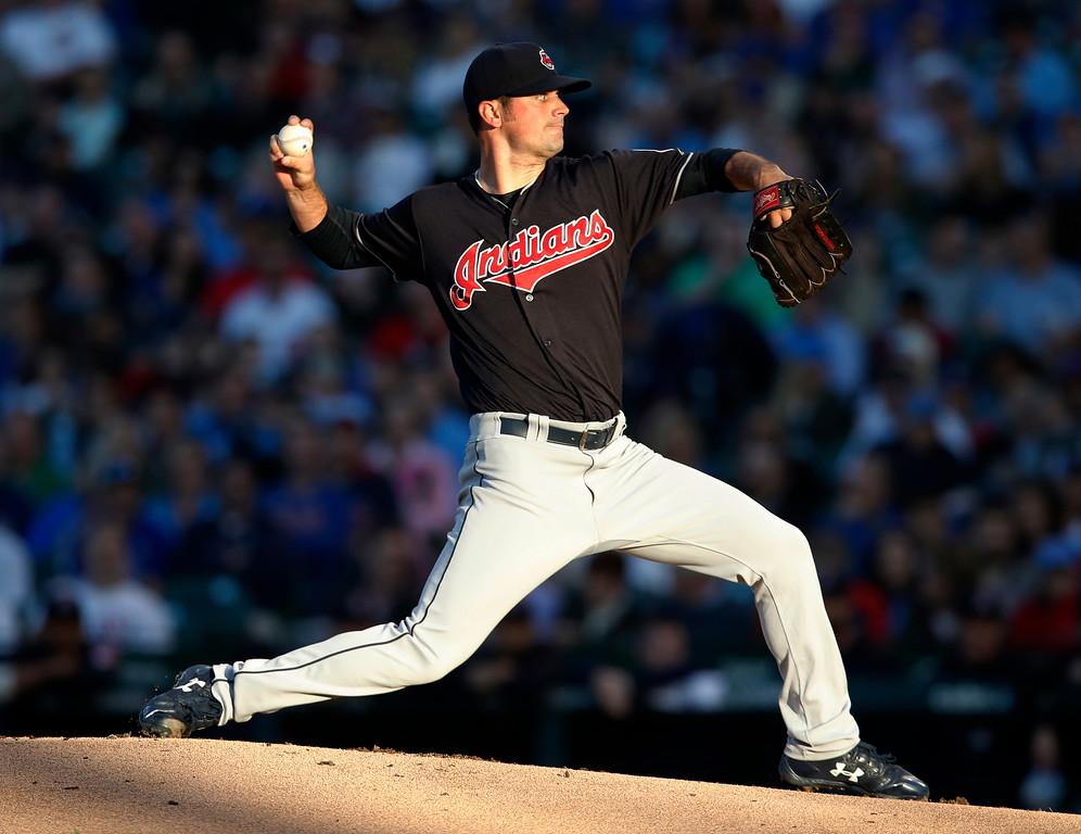 . Cleveland Indians\' Adam Plutko pitches during the first inning of the team\'s baseball game against the Chicago Cubs on Wednesday, May 23, 2018, in Chicago. (AP Photo/Jim Young)