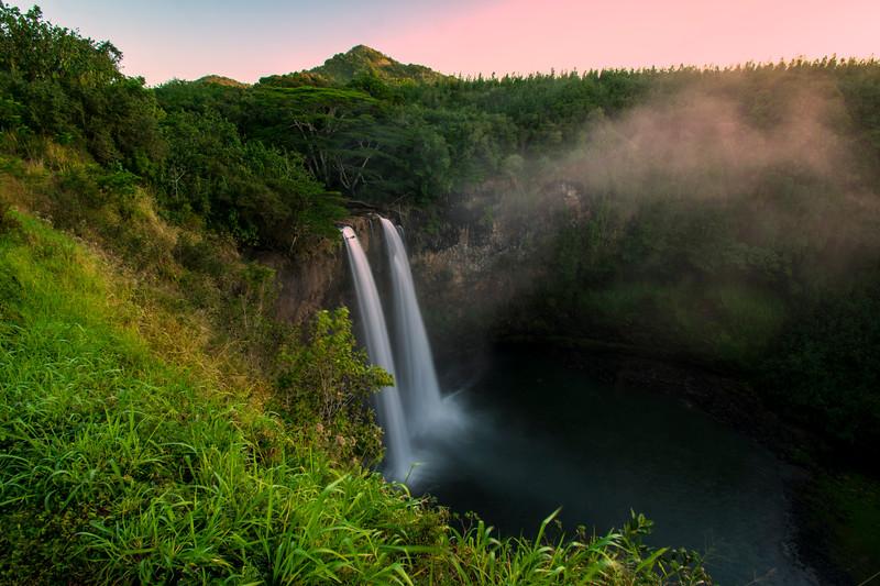 High angle view of Wailua Falls before sunrise, Kauai, Hawaii