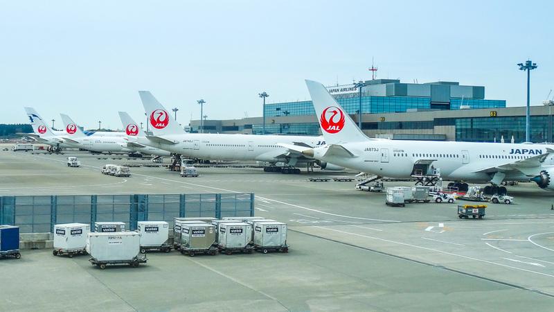 JAL planes at Narita Airport. Editorial credit: Daniel De Petro / Shutterstock.com