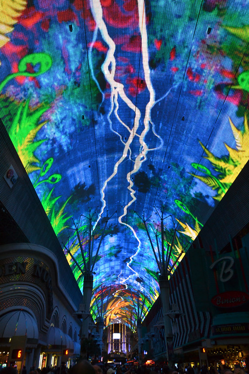 Overhead view on Fremont Street in Las Vegas, Nevada