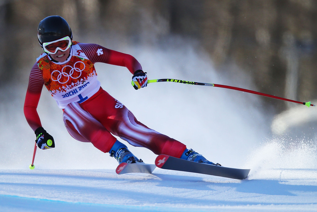 . Fabienne Suter of Switzerland skis during the Alpine Skiing Women\'s Downhill on day 5 of the Sochi 2014 Winter Olympics at Rosa Khutor Alpine Center on February 12, 2014 in Sochi, Russia.  (Photo by Clive Rose/Getty Images)