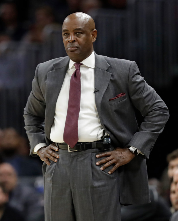 . Cleveland Cavaliers interim head coach Larry Drew watches in the first half of an NBA basketball game against the Toronto Raptors, Wednesday, March 21, 2018, in Cleveland. (AP Photo/Tony Dejak)