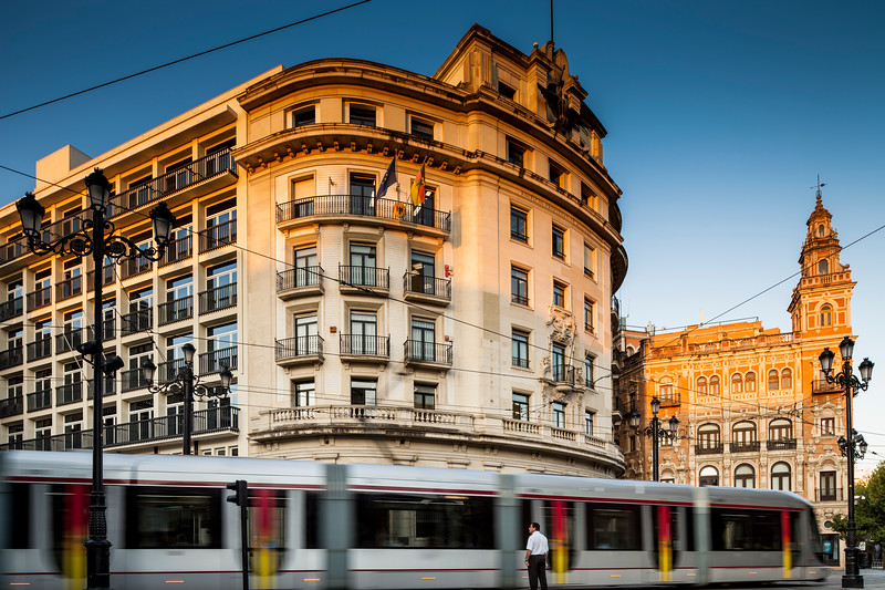 Streetcar on Constitution Avenue, Seville, Spain