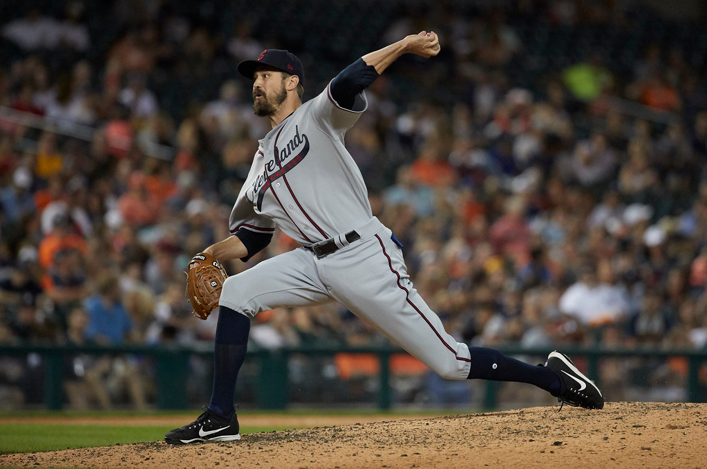 . Cleveland Indians relief pitcher Andrew Miller delivers in the ninth inning against the Detroit Tigers in the second baseball game of a doubleheader in Detroit, Saturday, July 1, 2017. (AP Photo/Rick Osentoski)