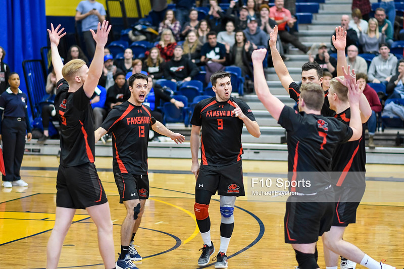 TORONTO, CANADA - Feb 23: during OCAA Men's Volleyball Championship Gold Medal Game between Humber Hawks vs Fanshawe Falcons at Humber Hawks Athletic Center. Photo: Michael Fayehun/F10 Sports Photography