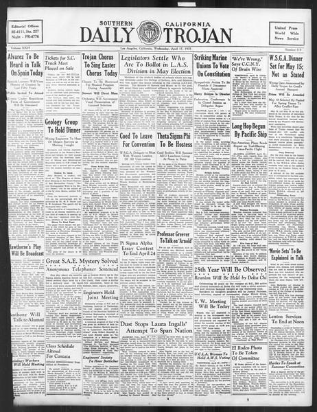 Daily Trojan, Vol. 26, No. 119, April 17, 1935