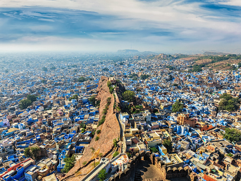 """Aerial view of Jodhpur, also known as """"Blue City"""" due to the vivid blue-painted Brahmin houses around Mehrangarh Fort. Jodphur, Rajasthan"""