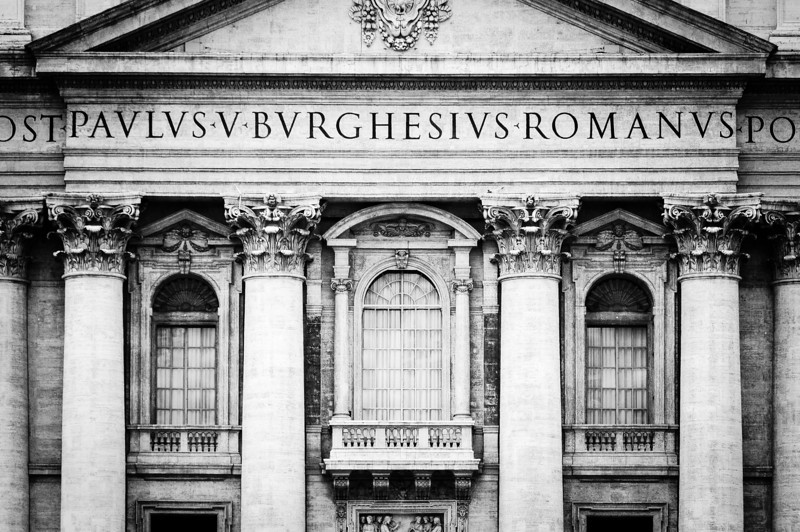 St Peter's Basilica facade in Vatican City, Rome, Italy