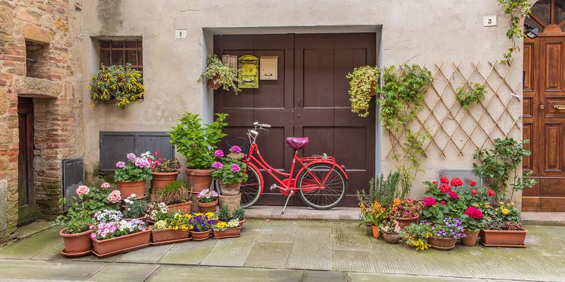 Bike and Flowers , Pienza , Tuscany