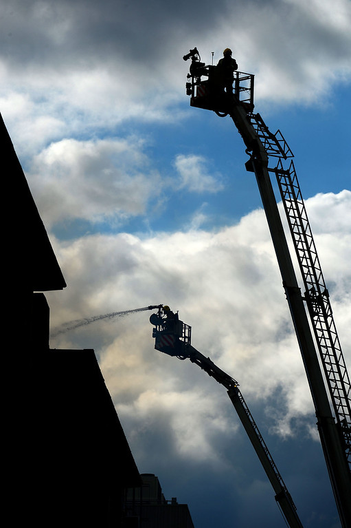 . Firefighters work to put out a fire at the Glasgow School of Art Charles Rennie Mackintosh Building on May 23, 2014 in Glasgow, Scotland.   (Photo by Jeff J Mitchell/Getty Images)