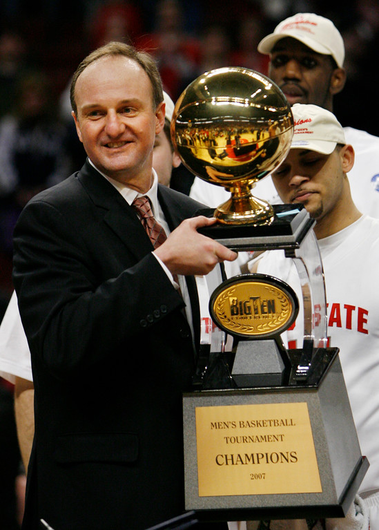 . Ohio State coach Thad Matta holds the Big Ten Tournament championship basketball trophy after defeating Wisconsin 66-49 in Chicago, Sunday, March 11, 2007. (AP Photo/Nam Y. Huh)