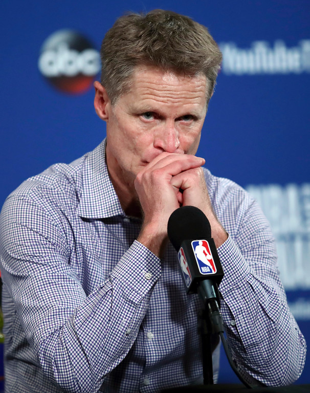. Golden State Warriors head coach Steve Kerr speaks at a news conference after Game 1 of basketball\'s NBA Finals between the Warriors and the Cleveland Cavaliers in Oakland, Calif., Thursday, May 31, 2018. The Warriors won 124-114 in overtime. (AP Photo/Ben Margot)