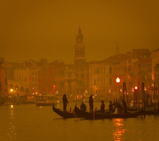 A Moody Venice In The Fog At Night