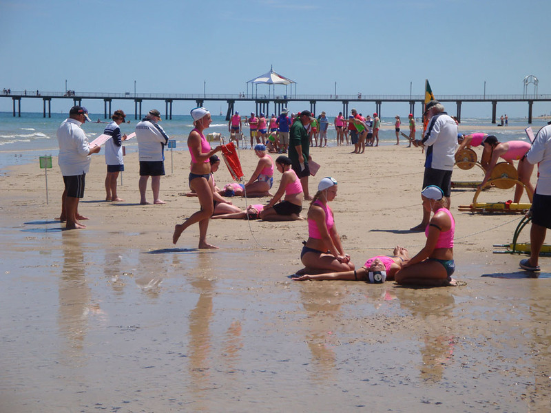 Surf life saving competition on Brighton Beach. Teams compete from beach clubs from around the country in this quintessentially Australian sport.