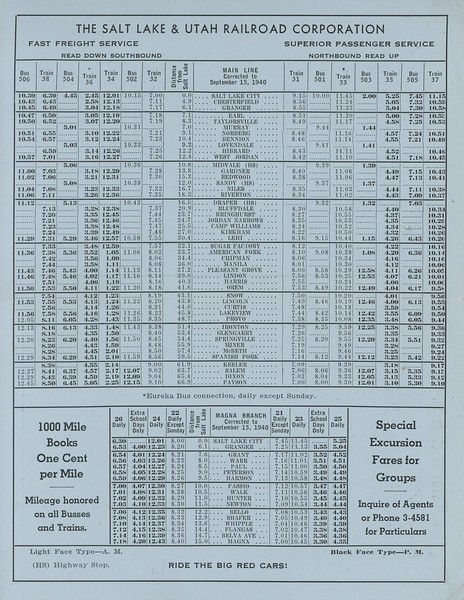 Salt Lake & Utah Timetables