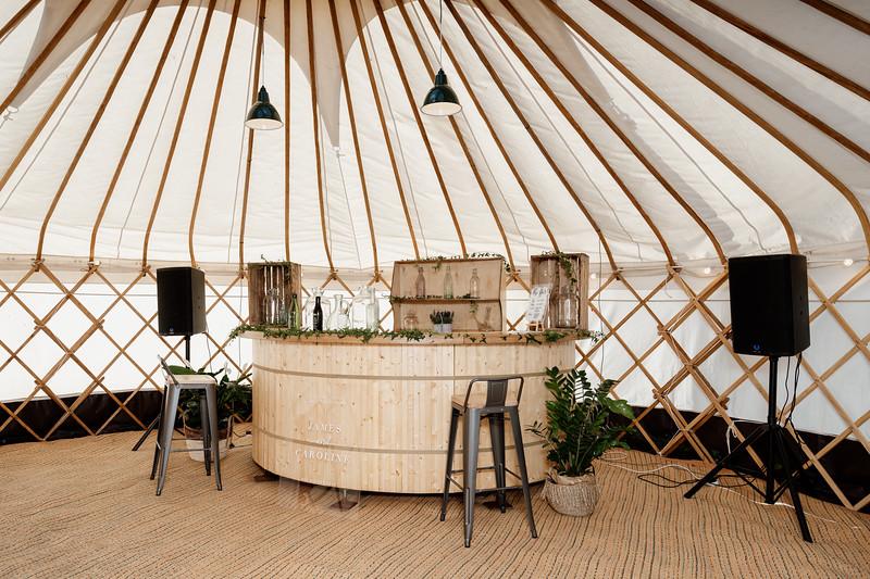 Semi-circular wooden bar