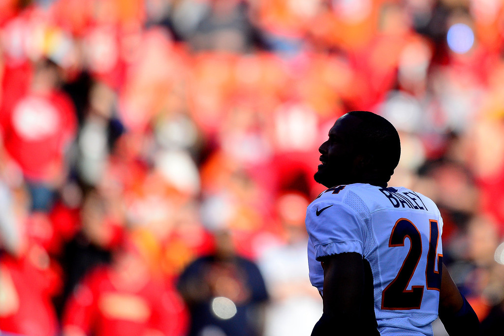 . Champ Bailey (24) of the Denver Broncos warms up before the first half of action at Arrowhead Stadium.   (Photo by AAron Ontiveroz/The Denver Post)