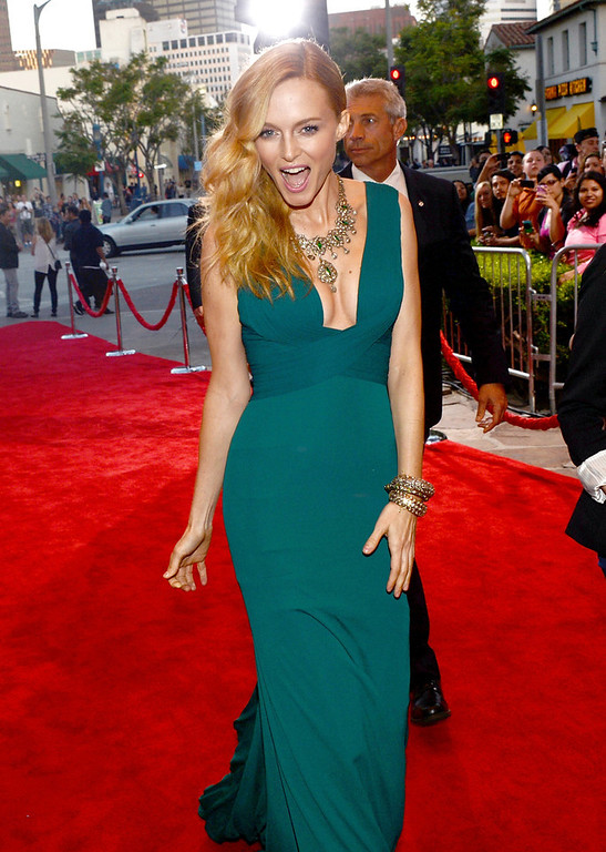 """. Actress Heather Graham arrives at the premiere of Warner Bros. Pictures\' \""""Hangover Part 3\"""" on May 20, 2013 in Westwood, California.  (Photo by Kevin Winter/Getty Images)"""