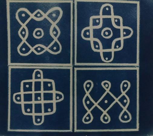 Kolam designs in cyanotype