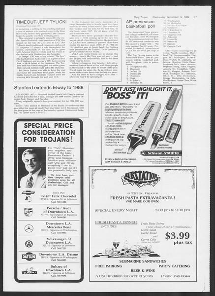 Daily Trojan, Vol. 97, No. 51, November 14, 1984