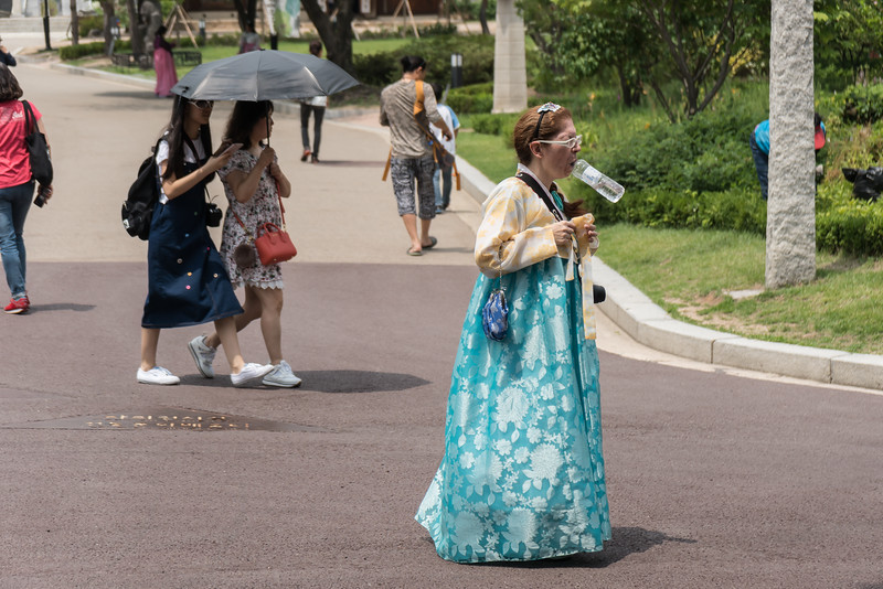 Most of those wearing Hanbok are natives, but obviously not this woman. Gyeongbokgung Palace, Seoul.