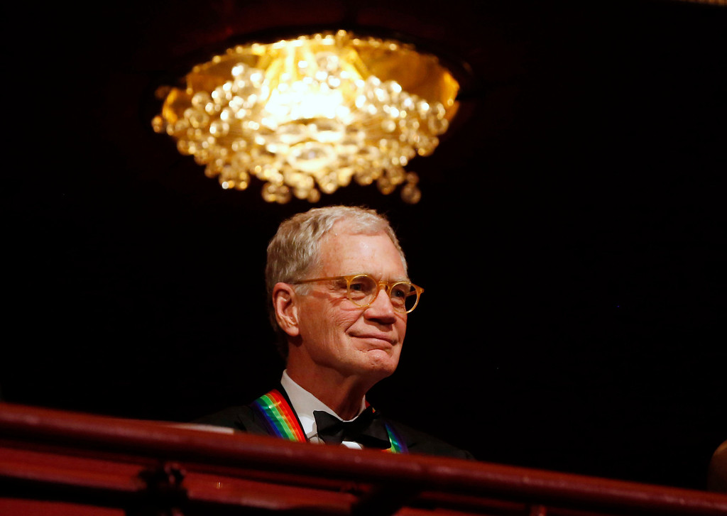 . Late-night TV talk show host David Letterman is pictured on the balcony at the 2012 Kennedy Center Honors at the Kennedy Center in Washington, December 2, 2012. Letterman was one of seven honorees of the 2012 event. REUTERS/Jason Reed