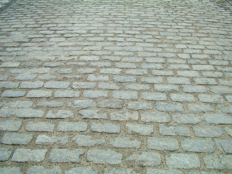 Cobblestone walkway -- entrance to Courtyard of Boott Cotton Mills Museum Lowell, MA