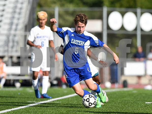 09/08/17 Wesley Bunnell   Staff Plainville Boys Soccer defeated visiting Bristol Eastern on Friday afternoon. Bristol Easterns Tom Lombardi #5.