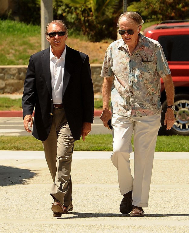 . San Bernardino city councilman Fred Shorett, left, and an unidentified man, arrive to the United States Bankruptcy court in Riverside August 28,2013.  A tentative ruling by a Federal judge grants San Bernardino bankrupty protection.  GABRIEL LUIS ACOSTA/STAFF PHOTOGRAPHER.