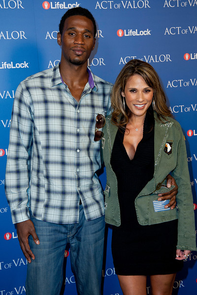 HOLLYWOOD, CA - FEBRUARY 13: Former NBA player Kareem Rush (L) and actress Bonnie Jill Laflin arrive at the premiere of Relativity Media's 'Act Of Valor' held at ArcLight Cinemas on February 13, 2012 in Hollywood, California. Photo taken by Tom Sorensen/Moovieboy Pictures.