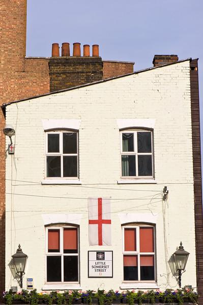 Pub displaying English flag, East End, London, United Kingdom