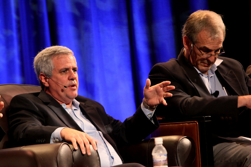 """The Future of Wireless Broadband"": David Achim (L), President and COO, SkyFiber; and Hugh Bradlow, CTO, Telstra"