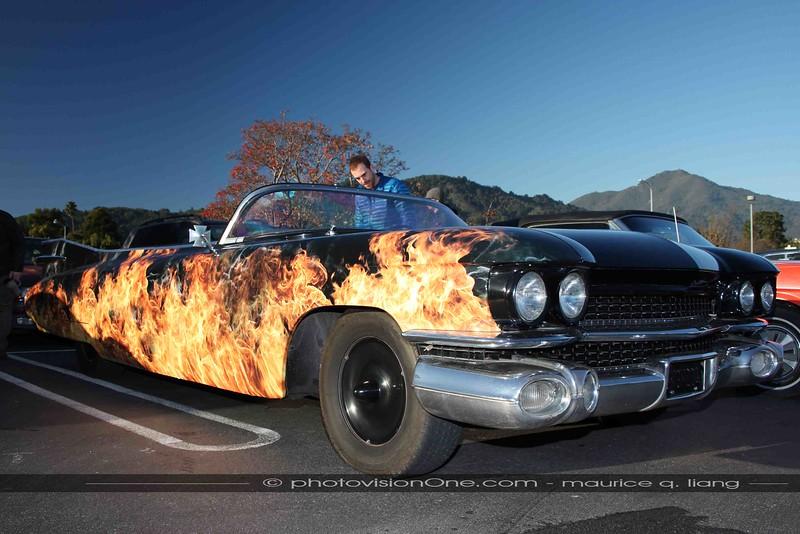 Flamed '59 Cadillac speedster.