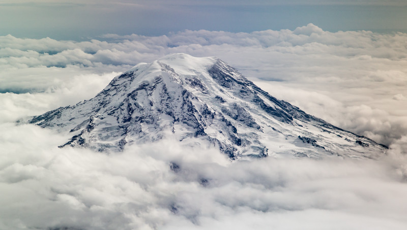 Mount Ranier as seen from the plane flying out of Seattle.