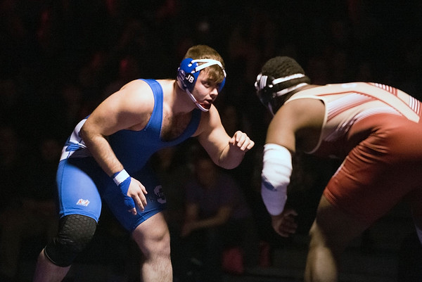 02/10/20 Wesley Bunnell | StaffrrSouthington defeated New Britain at home on Wednesday night. Southington's Jacob Vecchio vs Shendell James in the 285lb match.
